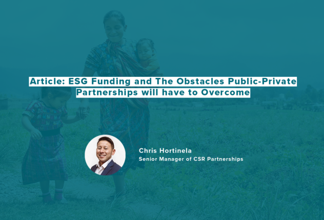ESG Funding and The Obstacles Public-Private Partnerships will have to Overcome